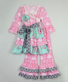 Look at this Pink Floral Ruffle Tunic & Pants - Infant, Toddler & Girls on #zulily today!