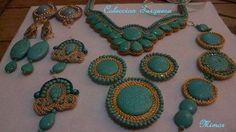 Colección Turquesa, pendientes, collares, pulsas hechos a mano.