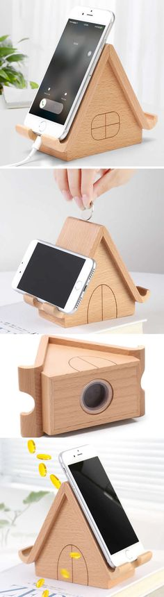 Wooden House Piggy Bank Smart Phone iPad iPhone Charging Station Dock Mount Holder Charge Cord Cable Organizer