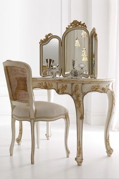 Italian Designer Rococo Dressing Table Set at Juliettes Interiors, a large collection of Classical Furniture. Dressing Table With Chair, Vintage Dressing Tables, Dressing Table Mirror, Rococo Furniture, Luxury Bedroom Furniture, Deco Furniture, Furniture Online, Unique Furniture, Garden Furniture