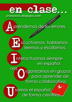 Spanish poster that uses Spanish vowels to detail behaviors and activities we use in Spanish class. Couldn't find this on the site but I thought it was a fun idea. Bilingual Classroom, Classroom Signs, Bilingual Education, Classroom Language, Spanish Classroom, Classroom Posters, Classroom Activities, Classroom Quotes, Spanish Teaching Resources