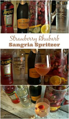 This Strawberry Rhubarb Sangria Spritzer recipe combines the rhubarb, citrus and aromatic flavors of Aperol to make a flavorful prosecco wine sangria drink all year round thanks to frozen rhubarb and strawberries.