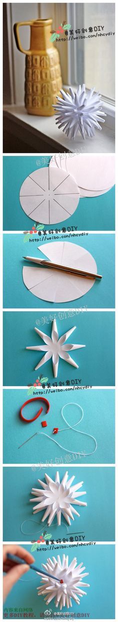 Origami for kids tutorial snowflakes Ideas Handmade Flowers, Diy Flowers, Fabric Flowers, Paper Flowers, Christmas Projects, Holiday Crafts, Diy Pompon, Diy Paper, Paper Crafting