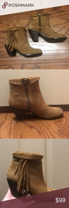 "Sam Edelman Booties Sam Edelman ""Louie"" Suede Fringe Booties - Size 7 - Color Tan. Booties are in excellent condition worn only two or three times. Sam Edelman Shoes Ankle Boots & Booties"