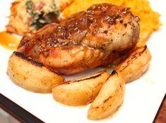 braised apple cider chicken with sautéed apples