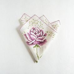 Purple Rose Print  Vintage Handkerchief  White by LastCentury