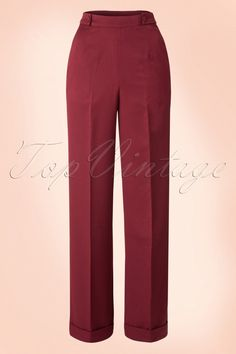 The40s Party On Classy Trousers in Bordeauxby Bannedare inspired on the trousers that those progressive women in the 40s / 50s wore!This timeless beauty is easy to combine and can't be missed in your retro wardrobe! The high waist forms a beautiful contrast with the wide leg and is very flattering with fuller hips/bottom! The fabric buttons on both sides create a playful detail and finish it off perfectly. Made from a supple, light stretch...
