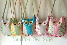 Gingercake pompom Owl Bags - inspiration, and some construction notes :)