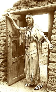 "Tsianina Redfeather, famous Cree/Cherokee singer & performer, ca. 1920. ""From the Land of Sky-Blue Water,"" was Redfeather's signature song. She passed away in 1985 in San Diego at the age of 102."