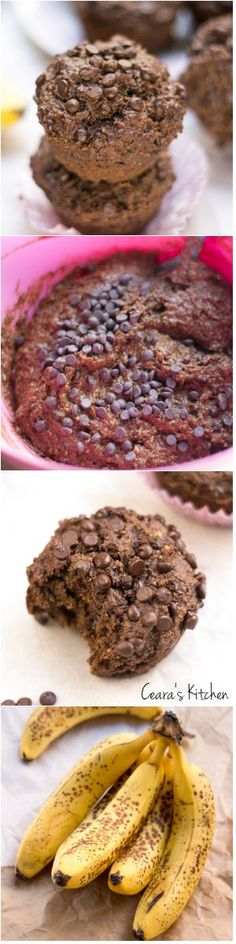 Fudgey, rich + decadent Healthy Double Chocolate Banana Muffins. Nobody will guess these soft + fluffy muffins are gluten free, vegan and oil free! #Vegan #GlutenFree #OilFree #Chocolate #Healthy #Muffins #Recipe #HealthyRecipe #HealthyBaking