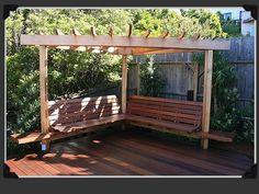 seating/shade structure idea for the back corner. From Paxton Gate design portfolio. #backyard #landscape #garden - Gardening DIY Life