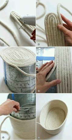 DIY un panier en corde. No-Sew Rope Basket / alice & loisDIY No-Sew Rope Basket / alice & lois. I love the look of this but would sew it after gluing it.DIY No-Sew Rope Basket / alice & lois by Nancy Oberlin Could paint it to match furniture tooDIY y Rope Basket, Basket Weaving, Basket Bag, Rope Crafts, Diy And Crafts, Sisal, Creation Deco, Diy Home Decor On A Budget, Diy Projects On A Budget