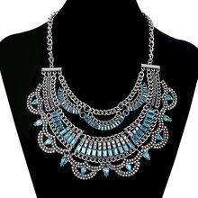 2016 mode argent Antique ethnique Maxi Colares Bijoux Femme chaîne cristal déclaration millésime Collier Collier Collier Collier(China (Mainland))