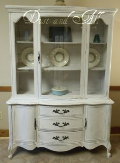 French Provincial Hutch, painted in Miss Mustard Seed Milk Paint Ironstone by Melissa Meader, of Dust and All Vintage