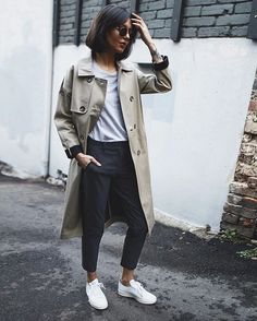 Pepamack - This amazing trench is by @sessun available at @asos_au ,sunnies are by @ameyewear ,pants from @revolve @theory__ and of course shoes are @adidasoriginals  #stansmith #asos