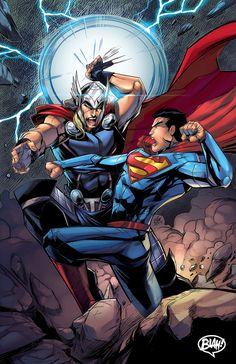 Comission Superman vs Thor by toonfed.deviantart.com on @deviantART