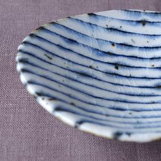 Blue and white striped traditional Japanese ceramic