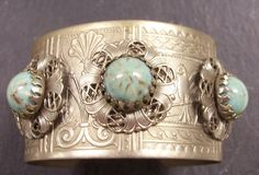 VINTAGE Silver CUFF Bracelet and Earring Turquoise Stones Birds Filigree Fun and Unique Fashion Ready to Wear Jewelry Destash (Y78). $15.50, via Etsy.