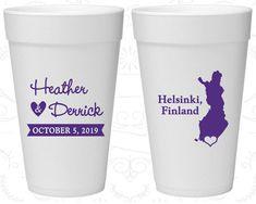 Finland Wedding, Imprinted Party Foam Cups, Destination Wedding, Styrofoam Cups, Helsinki Wedding (174)