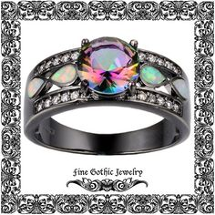 Gothic Engagement Ring   Black Engagement Ring   Mystic Fire Topaz And Opal Infinity Loop Black Gold Filled Ring   Size 5 6 7 8 9 10 #130