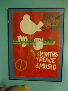 Art assignment as well: hippie poster. ended up being the flute shirt design my junior year in high school