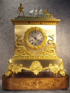 Antique Clocks : Automation Rocking Ship, circa -Read More – - Mantel Clocks, Old Clocks, Antique Clocks, Antique Watches, Sistema Solar, Globes Terrestres, Father Time, Statues, Time Clock