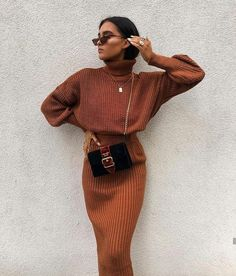 Cosy Autumn Winter Co-Ord Knitted Top And Skirt Co-ord Autumn Fashion Outfit Ideas Casual Weekend Inspo Winter Fashion Outfits, Fall Winter Outfits, Modest Fashion, Look Fashion, Autumn Winter Fashion, Womens Fashion, Fashion Trends, Fashion Clothes, Dress Winter
