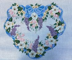 Vintage Melissa Shirley Heart Floral Wreath Hand Painted Needlepoint Canvas | eBay