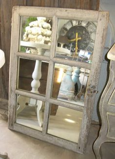 Antique Window Pane Mirror | A N T I Q U I T I E S