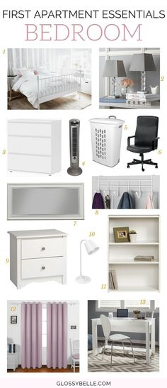 Moving out into your first apartment? Here is a list of the important first apartment essentials you'll need to be ready to move out on your own. Apartment Needs, One Bedroom Apartment, Apartment Furniture, Home Decor Bedroom, College Bedroom Decor, White Apartment, 1st Apartment, Dorm Rooms, Bedroom Wall