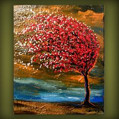 art original abstract painting palette knife painting wind blow tree painting texture painting abstract  landscape 11 x 14