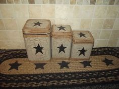 Primitive Tin Canisters Set of 3  Crackle Tan & Black Stars ~ Country Decor #NaivePrimitive