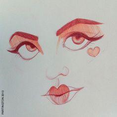 #sketch #draw #sketchbook #queenofhearts #lips #hearts #eyes #face #portrait