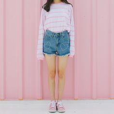 #mixxmix Heart Embroidery Frayed Denim Shorts(CBRK) One part chic, one part edgy, all stylish, these shorts are what you'll favor for weekend styling.  .#womensfashion #girlsoutfits #koreanfashiontrend #streetfashion #dailyoutfit #koreanfashionstore #ootd #fashion #trend #korean #koreanstyle