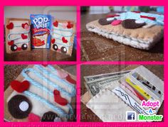 Pop Tart Wallet by by: Facebook.com/adoptamonster  #cute #food #crafts #kawaii #Pop Tart #Good Morning #Love #Wallet #Strawberry