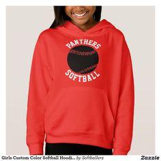Girls Custom Color Black Softball Hoodie Sweatshirt. An alternative color softball hoodie. #softball #fastpitch #sweatshirt #hoodie #softballgirl