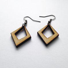 Small Diamond Shaped Earrings - Wooden Earrings, Laser Cut Jewelry, Natural Jewelry, Wood Earrings, Small Earrings, Bohemian Jewelry