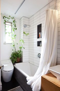 "Could This New Service Solve Your Apartment Problems? #refinery29  http://www.refinery29.com/bathroom-kitchen-makeover#slide-11  More subway tile (as well as inset shelving, done in an inspired, contrasting, small-scale black tile with light grout) and an upgraded ""commode"" round out the space...."