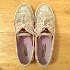 Silver Glittered Sperry Topsider Shoes Silver color. Leather laces. Worn a few times. Sperry Top-Sider Shoes