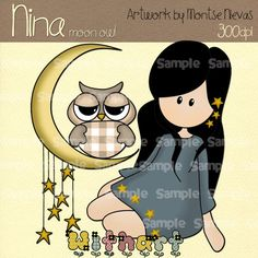 Moon with owl Nina dolls 0051 digital clip art set by Withart, $2.99
