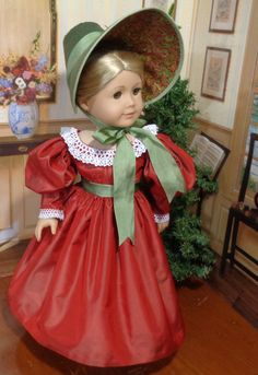 Gigot Sleeve Dress Set in Red Silk fits 18 Inch Dolls Girls Dresses, Flower Girl Dresses, Doll Dresses, American Girl Dress, Sewing Doll Clothes, Wide Brimmed Hats, Gathered Skirt, Lace Collar, Red Silk