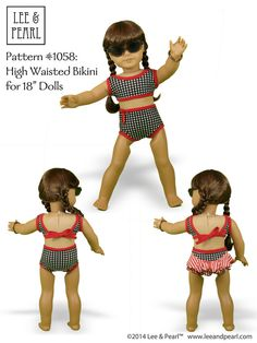 "One pattern, lots of variations! LP Pattern 1058: Retro Ruffled Swimsuit and High Waisted Bikini for 18"" Dolls (with or without back ruffle) by leeandpearl"