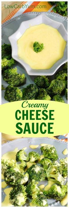 A quick and easy low carb creamy cheese sauce that only uses three ingredients. It tastes delicious and it's a great way to dress up some steamed broccoli. | LowCarbYum.com