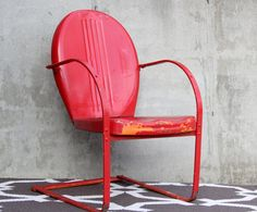 vintage mid century shell back chair / red by wretchedshekels $159