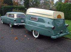 1952 Ford with a matching Kom Pak Sportsman trailer.The roof of the trailer is a 12 foot metal boat which can be removed and put back in place by one man.   Dudleys Diary: January 2010.