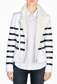 Naco Black Striped Shearling Biker Jacket
