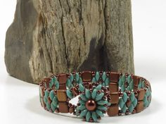 SUPERDUO CZECHMATE TILE Bracelet - Turquoise Picasso SuperDuos-Bronze Luster Opaque Red Tiles-Toho Seed Beads-Beaded Flower Clasp-(SD113) by CinfulBeadCreations on Etsy