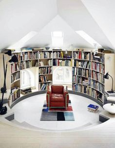 Red Armchair Feats Sophisticated Curved Wall Bookcase With Small Window Bench Seat Plus Picture Of Modern Library Architecture Design