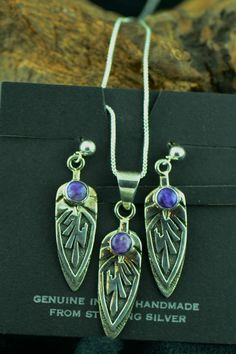 Sterling Silver Charoite Feather Pendant and Earring Set | Charoite Native American Jewerly | Authentic Native American Jewelry