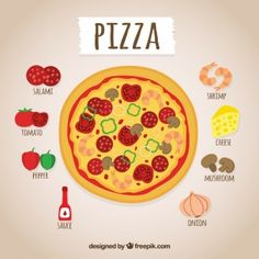 Receta de pizza dibujada a mano